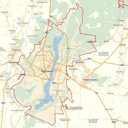 карта Воронежа с улицами,.